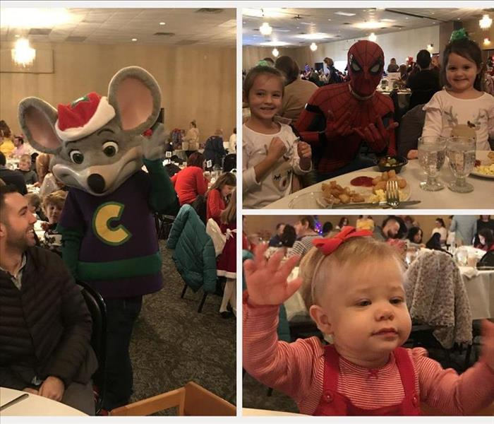 Photo collage of Chuck E. Cheese waving to attendees, Spiderman character posing with children, and a baby girl at breakfast