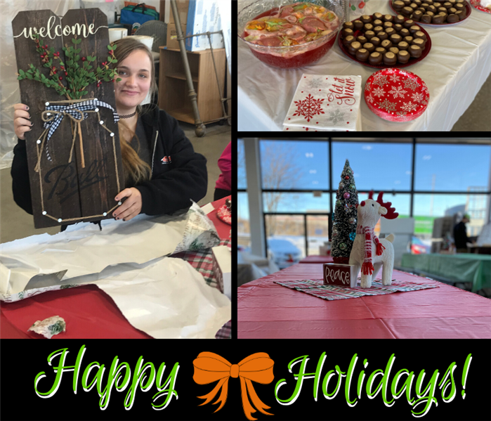 collage of cookies, gifts, and employees at tables