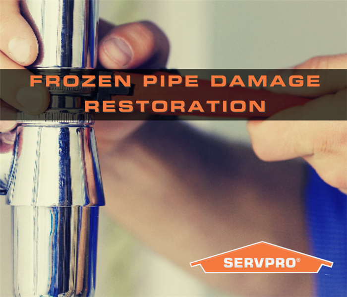 "pipe background with text ""frozen pipe damage restoration"""