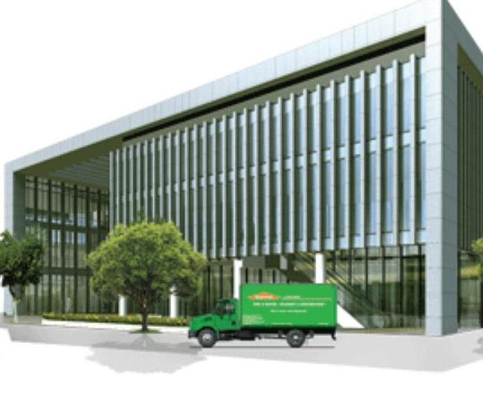 SERVPRO truck in front of commercial building