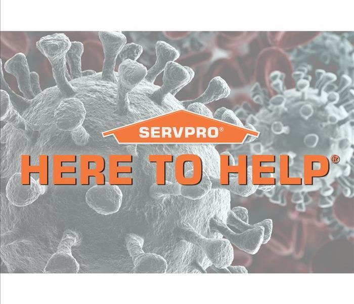 Coronavirus stock photo with SERVPRO logo and tagline Here to Help